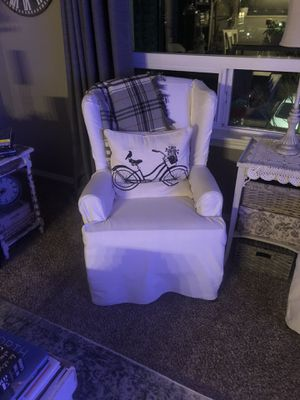 Set of antique slip covered wing back chairs for Sale in Bellingham, WA