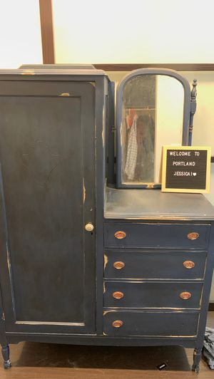 1890's antique chifforobe redone and distressed in chalk paint for Sale in Portland, OR