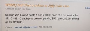 2 tickets WMZQ fall fest 10/12 for Sale in Vienna, VA