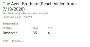 Avett Brothers Concert Tickets for Sale in Morrison, CO