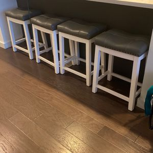 Wayfair Bar stools- 2ft Tall Leather Tops Brass Studded Sides- $150 Or Best Offer for Sale in Atlanta, GA