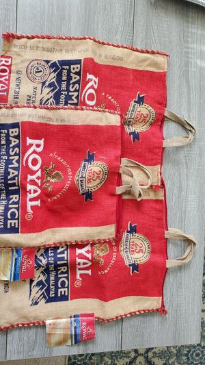 (3) Empty 20 Lb Royal Basmati Rice Burlap Bag with Zipper and Handles / Bag only for Sale in Lutz, FL