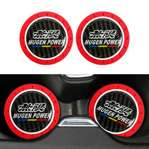 BRAND NEW 2PCS MUGEN POWER RED RUBBER CUP MAT WITH REAL CARBON FIBER EMBLEM for Sale in City of Industry, CA
