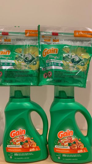 2 Gain detergent 50 oz + 2 flings 16 count: all 4 for $15 for Sale in Alexandria, VA