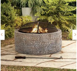 New Normandie Stone 26 in. Round Steel Wood Burning Firepit for Sale in Hacienda Heights,  CA