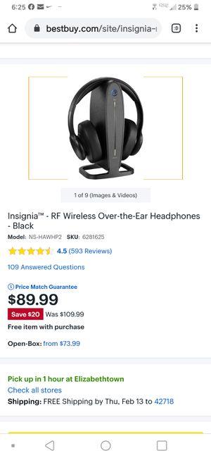 Insignia 5.8 Ghz Digital Wireless Headphones for Sale in Lexington, KY