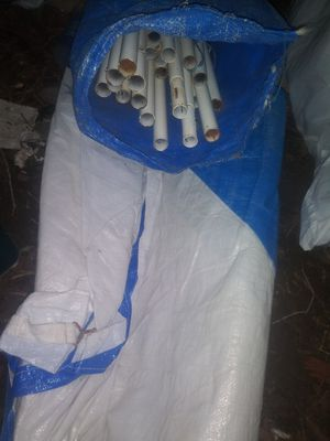 Blue/white tent tarp canopy with poles for Sale in Denver, CO