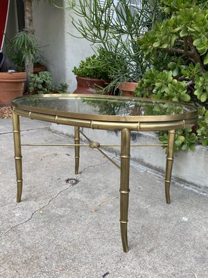 Vintage Mid Century Mastercraft Boho Faux Bamboo Brass & Glass Coffee End Side Table for Sale in San Diego, CA