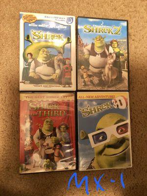 4 - Shrek DVD MovieS- Shrek 1, Shrek 2, Shrek the Third, & Shrek 3-D- Selling altogether for Sale in Allentown, PA