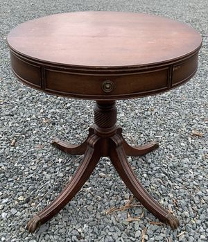 Antique Genuine Mahogany Association Claw Foot Regency Style Pedestal Drum 1 Drawer Round Table for Sale in Chapel Hill, NC