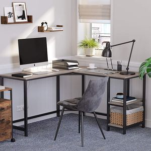54-Inch L-Shaped Corner Desk / Computer Desk / Writing Study Workstation with Shelves for Sale in Whittier, CA