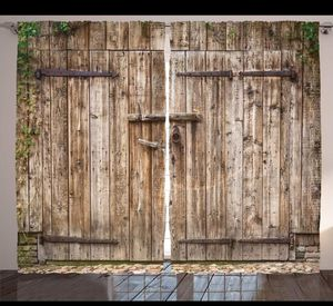 Wooden Boards Curtains 108 x 108 Rustic Barn Doors Backdrop Living Bed Room Decor Patio Doors for Sale in Orlando, FL