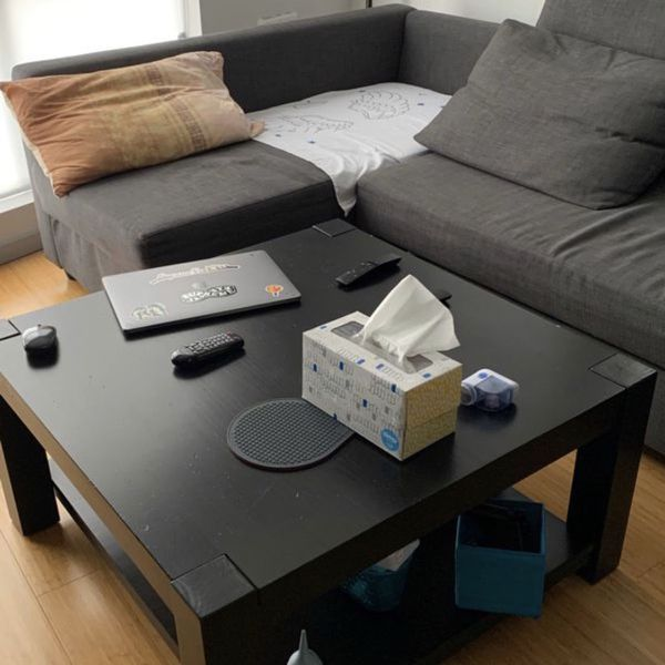 Coffee table - solid wood, black, IKEA