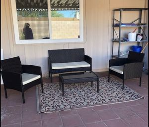 Brown Rattan Patio Furniture Outdoor Beige or Brown Cushions Sofa Loveseat Seating for 4 for Sale in Sacramento, CA