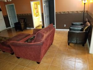 Love seat, ottoman, and three leather chairs with four pillows for Sale in Conyers, GA
