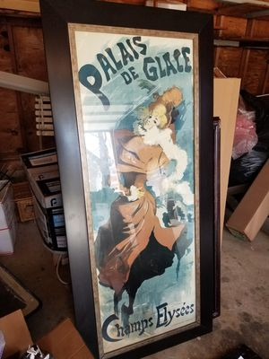 Huge Framed Print of French Antique Poster for Sale in Concord, MA