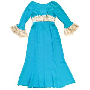 Vintage ILGWU 1970s Emma Domb Teal Beaded Waist Cuffs Maxi Prom Party Dress Women's Size Medium for Sale in Rancho Cucamonga, CA