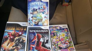 4 wii games mario party, Spiderman , iron man, universe for Sale in Gilbert, AZ