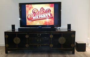 Beautiful sturdy, heavy, excellent condition TV console. 5ft 9 inches LONG x 1ft 11 inches WIDE and 1ft 11 inches TALL. for Sale in King of Prussia, PA