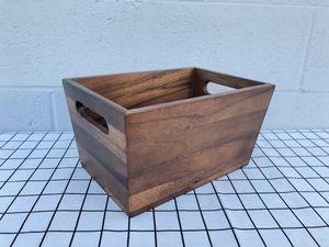 New Flare Acacia Wood Storage Bin Medium Size For Desktop Organizer Fruit Storage Household Kitchen Home Decor for Sale in South El Monte, CA