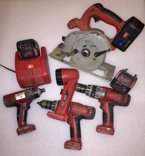 Milwaukee 18v combo kit drills, circular saw, flashlight, for Sale in Chesterland, OH