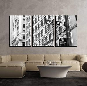 """3 Piece Canvas Wall Art - Sign on Wall Street in New York City - Modern Home Decor Stretched and Framed Ready to Hang - 24""""x36""""x3 Panels for Sale in Long Beach, CA"""