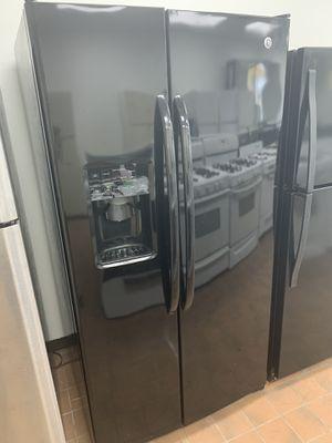 Gloss black side by side refrigerator/60 day warranty for Sale in Detroit, MI
