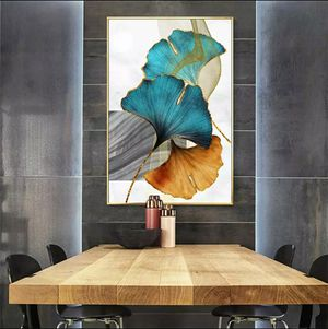 Blue Green Yellow Gold Plant Leaf Abstract Poster Nordic Canvas Print Wall Art Painting Modern Picture Living Room Decoration 19 wied 28 highes for Sale in San Jose, CA