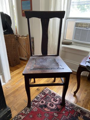 Antique wooden chair with leather seat for Sale in Brooklyn, NY