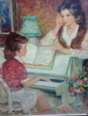 """Authentic PIERRE EUGÈNE DUTEURTRE, French,(1911-1989) """"Au Piano """" Oil on canvas, Framed 28"""" x 32"""" painting for Sale in Miami, FL"""