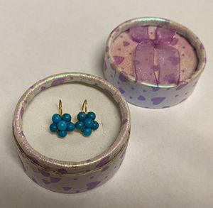 New 18K Gold Wire Persian Turquoise Petite Ladies or Girls Earrings for Sale in Alexandria, VA