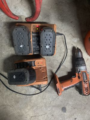 Ridgid drill 2 chargers and 3 battery's for Sale in Santa Maria, CA