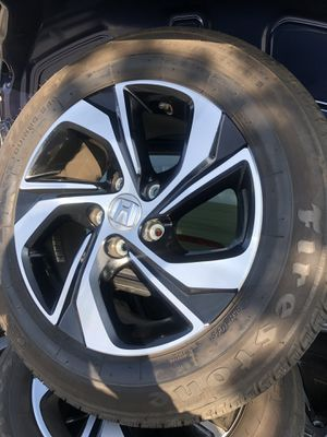 Rims and tires 16 5x114 for Honda Acord civic Acura CRV 90% on tires no scratches rims and tires like new for Sale in Santa Ana, CA