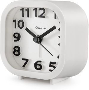 "Alarm Clock, Chelvee 2"" Quartz Analog Travel Alarm Clock with Night Light, Ultra Small, Silent with No Ticking (White) Condition is New. for Sale in McCalla, AL"