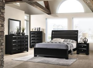 NEW GLOSSY BLACK MONTE CARLO QUEEN BEDROOM SET INCLUDES BED DRESSER MIRROR NIGHT STAND AND CHEST ONLY $699. KING $799. EXTRA NIGHT STAND $149. NO CRE for Sale in Lakeland, FL