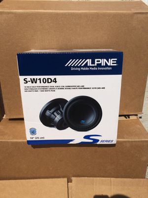 """Alpine Car Bass Speaker 10"""" Subwoofer Dual 4-Ohm Voice Coils S-Series 🔥 100 Day Payment Plan 🔥 No Credit Needed 🔥 for Sale in Long Beach, CA"""