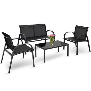 4-Piece Patio Furniture Conversation Sofa Set Coffee Table Steel Frame Garden Deck in Black for Sale in Los Angeles, CA