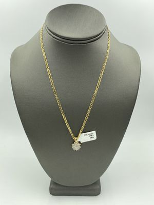 14KT YELLOW GOLD FASHION LINK CHAIN w/ 10KT YELLOW GOLD DIAMOND CLUSTER CHARM for Sale in Fontana, CA