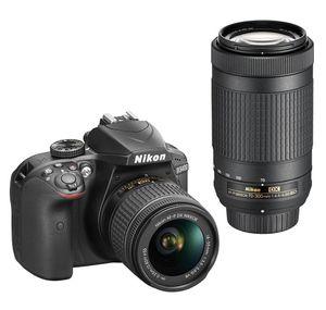 Nikon - D3400 DSLR Camera with AF-P DX 18-55mm G VR and 70-300mm G ED Lenses - Black for Sale in Chicago, IL