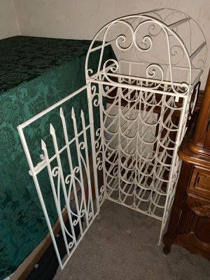 32 Bottle Cast Iron Wine Rack - Vintage French Colonial (White) for Sale in Orange, CA