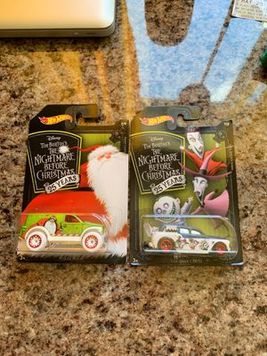 Hot Wheels Nightmare Before Christmas 25th anniversary Sandy Claws 8/8 and Lock, Shock, & Barrel 7/8 NEW for Sale in Riverside, CA