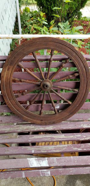 Vintage Wood Carriage Wheel- great home decor piece for Sale in Lorain, OH