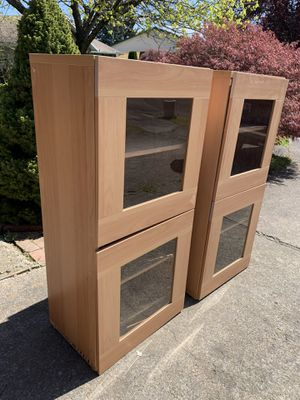 IKEA glass door shelving units (2) for Sale in Portland, OR