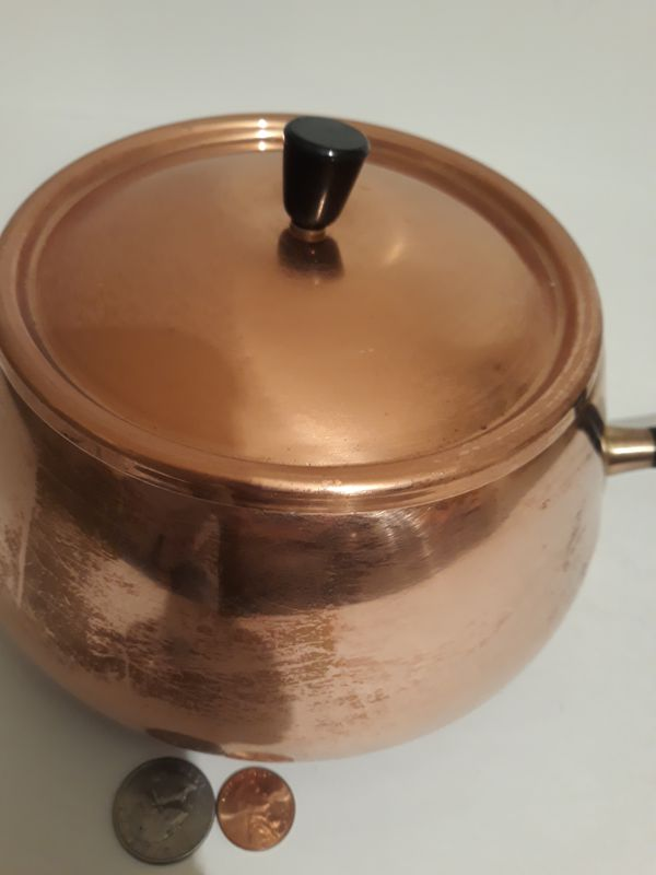 """Vintage Metal Copper and Brass Cooking Pot, Made in Japan, 13"""" Long and 7"""" x 4"""" Pan Size, Cooking Pan, Kitchen Decor, Shelf Display"""
