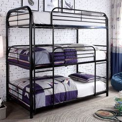 BLACK FINISH TRIPLE TWIN SIZE BUNK BED METAL FRAME / LITERA CAMAS for Sale in Downey,  CA