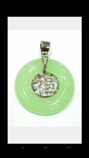 "Blessing Lucky Multi-Color Jade Round Circle Donut fortune Gold Plated Fortune Pendant leather Necklace 18"" for Sale in El Sobrante, CA"