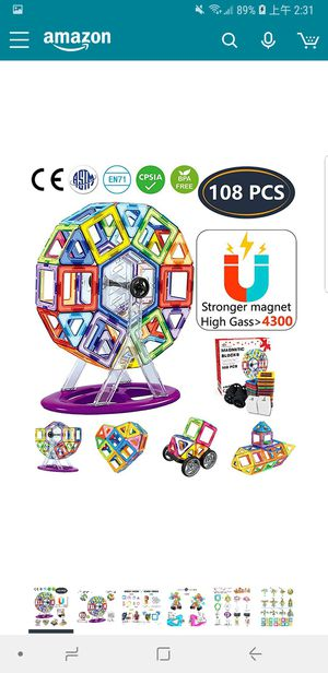 Toy 108 PCS Creative Magnetic Building Blocks for Boys Girls Magnetic Tiles Building Set NEW for Sale in Silver Spring, MD