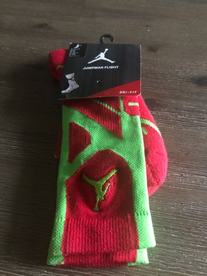 Nike a Jordan jumpman flight green & red socks size medium for Sale in Tamarac, FL