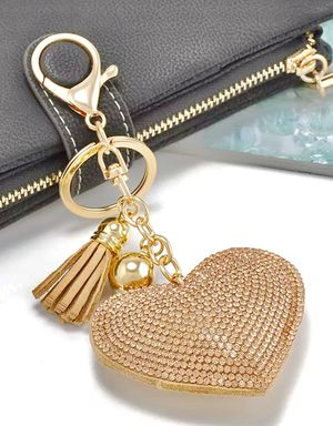 Gold Sequin RHINESTONE HEART Key Chain Backpack PURSE Tag GOLD RED BLUE BLACK CHAMPAGNE or PINK for Sale in Macomb, MI