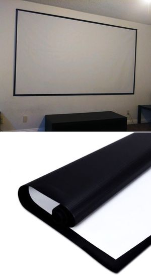 New 120 inches 16:9 ratio PVC fabric roll up projector projection screen with velcro mounts included for Sale in Covina, CA